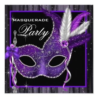 "Elegant Black and Purple Masquerade Party 5.25"" Square Invitation Card"