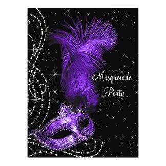 "Elegant Black and Purple Masquerade Party 6.5"" X 8.75"" Invitation Card"