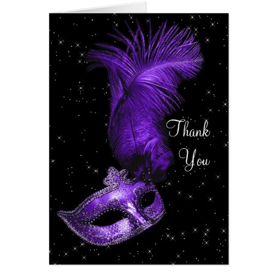Elegant Black and Purple Masquerade Thank You Card