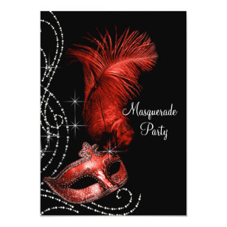 """Elegant Black and Red Masquerade Party 5"""" X 7"""" Invitation Card"""