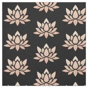 Elegant Black and Rose Gold Lotus Flower Printed Fabric