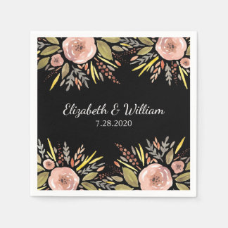 Elegant Black and Rose Watercolor Floral Wedding Paper Napkin