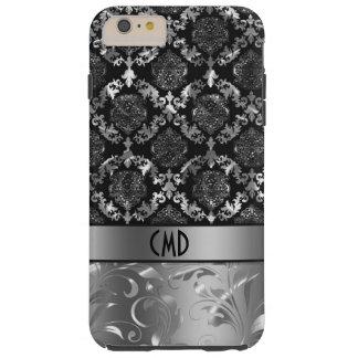 Elegant Black And Shiny Silver Damasks & Swirls Tough iPhone 6 Plus Case