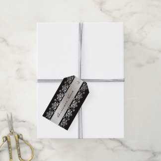 Elegant Black and Silver Custom Business Tags Pack Of Gift Tags