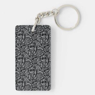 Elegant Black and Silver Damask Floral Pattern Keychain