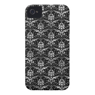 Elegant Black and Silver Damask Pattern Case-Mate iPhone 4 Cases