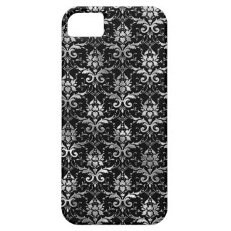 Elegant Black and Silver Damask Pattern iPhone 5 Covers