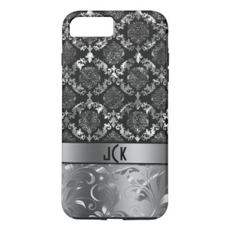 Elegant Black And Silver Damasks  & Lace 2 iPhone 7 Plus Case