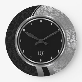 Elegant Black And Silver Damasks Silver Frame Large Clock