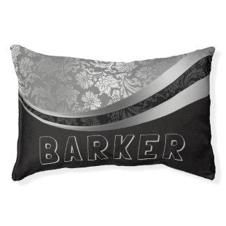 Elegant Black And Silver Floral Damasks Pet Bed