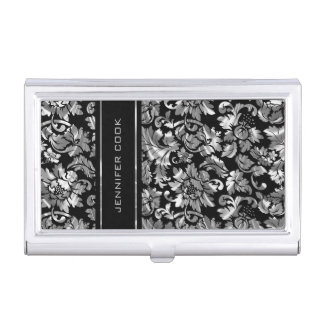 Elegant Black And Silver Gray Damasks Business Card Holder