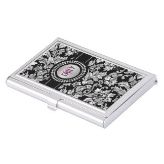 Elegant Black And Silver Gray Floral Damasks Business Card Holder