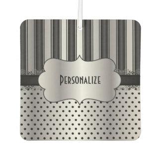 Elegant Black and Silver Pattern | Personalize Car Air Freshener