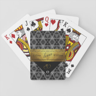 Elegant Black and silver pattern with gold ribbon Playing Cards