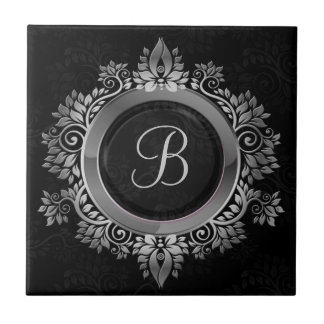 Elegant Black and silver single initial monogram Tile