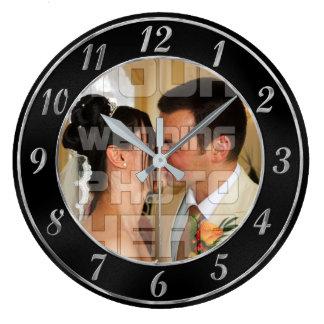 Elegant Black and Silver Wedding Photo Clock