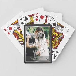 Elegant Black and Silver Wedding Photo Template Poker Deck