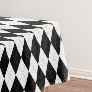 Elegant Black And White Argyle Pattern Tablecloth