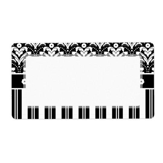 Elegant Black and White Art Deco Damask Stripes Shipping Label