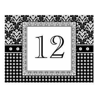 Elegant Black and White Art Deco Table Numbers Postcard