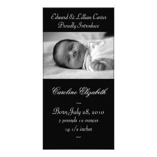Elegant Black and White Baby Birth Annoucement Custom Photo Card