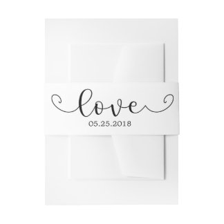 Elegant Black and White Belly Band Invitation Belly Band