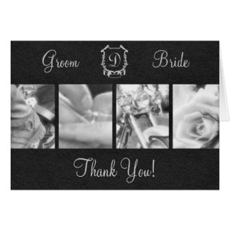 Elegant Black and White Biker Wedding Thank You Card