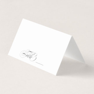 Elegant Black and White Calligraphy Table Guest Place Card