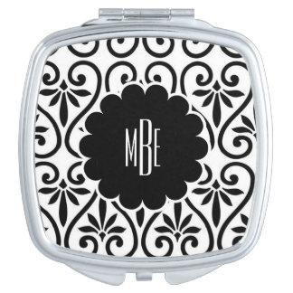 Elegant Black and White Compact Mirror