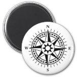 Elegant black and white compass rose magnet