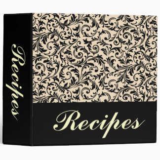 Elegant Black and White Custom Recipe Binder