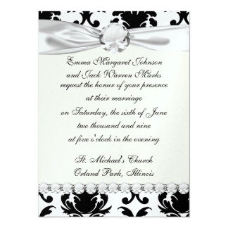 "elegant black and white damask 5.5"" x 7.5"" invitation card"