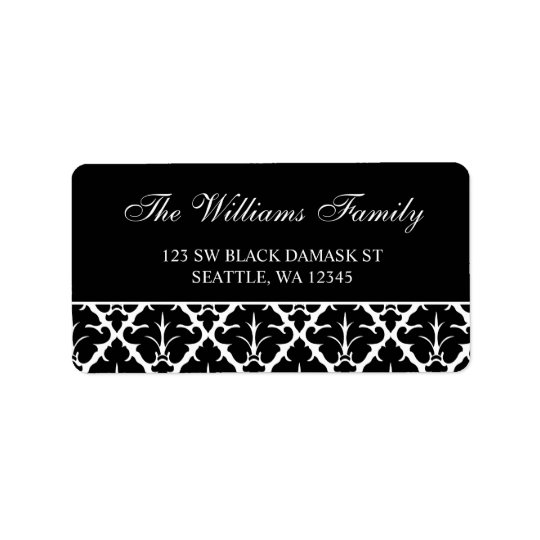 Elegant Black and White Damask Address Labels