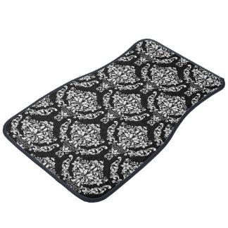 Elegant Black And White Damask Auto Mat