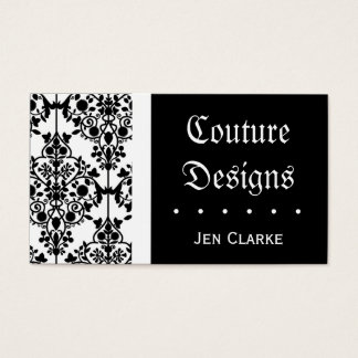 Elegant Black and White Damask Business Card