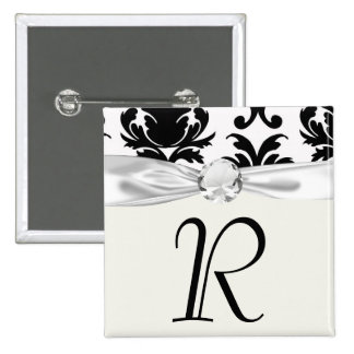 elegant black and white damask 2 inch square button