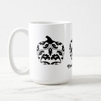 Elegant black and white damask Halloween pumpkin Coffee Mug
