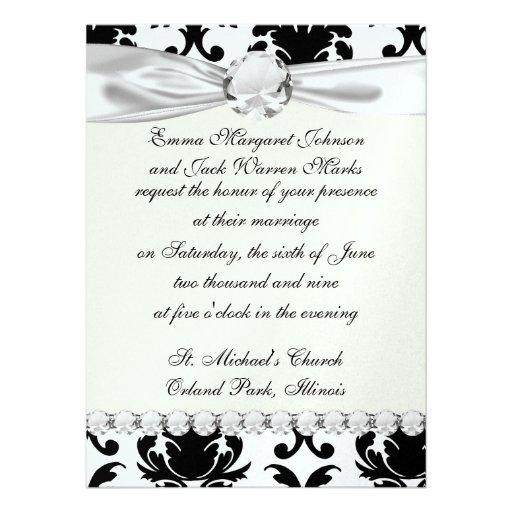elegant black and white damask custom invites