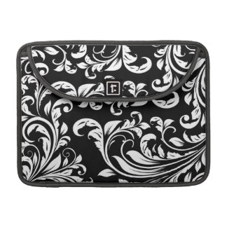 Elegant Black and White Damask Macbook Pro Sleeve