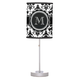 Elegant Black and White Damask Monogram Table Lamp