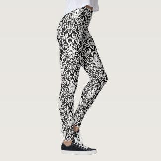 Elegant Black and White Damask Pattern Leggings