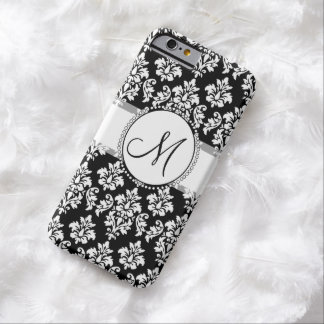 Elegant Black and White Damask Pattern Monogram Barely There iPhone 6 Case