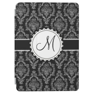 Elegant Black and White Damask Pattern Monogram iPad Air Cover