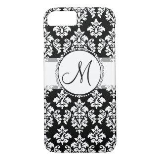 Elegant Black and White Damask Pattern Monogram iPhone 7 Case