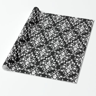 Elegant Black and White Damask Pattern Wrapping Paper