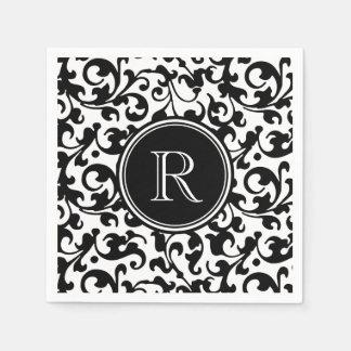 Elegant Black and White Damask Scroll Monogrammed Paper Napkins