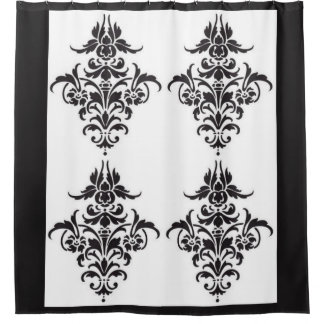 Elegant Black and White Damask Shower Curtain