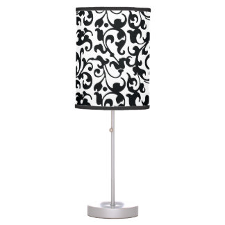 Elegant Black and White Damask Swirls Table Lamp
