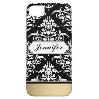 Elegant Black and White Damask with golden bottom iPhone 5 Cover