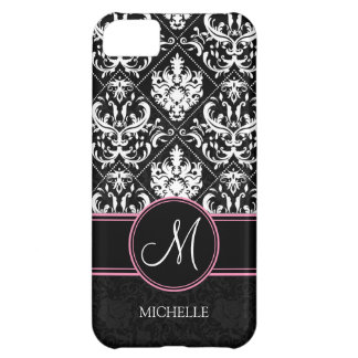 Elegant Black and White Damask with monogram Case For iPhone 5C